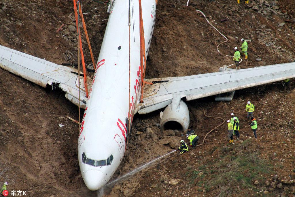 土耳其飞机冲出跑道险坠海 当地展开回收工作