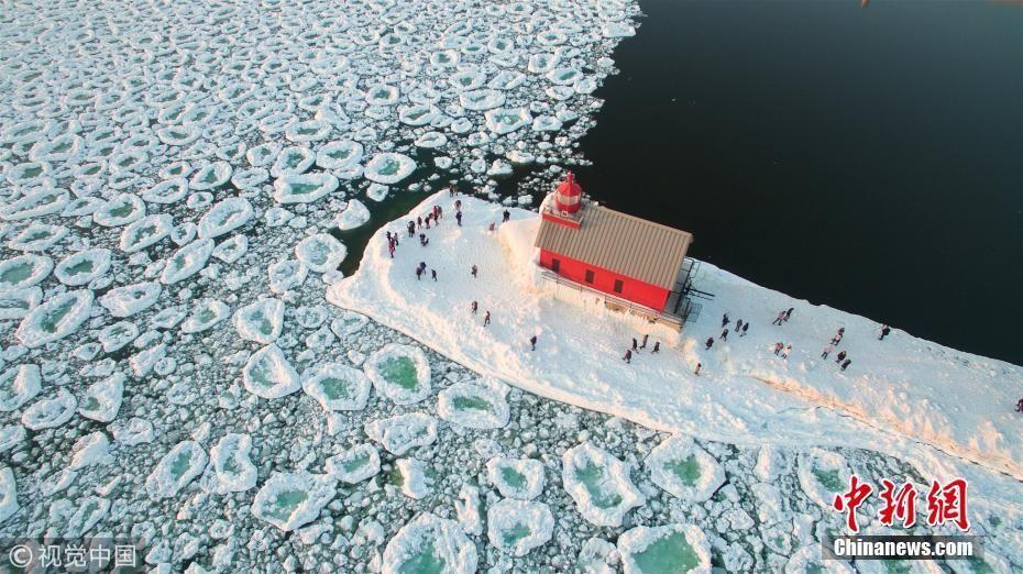 美密歇根湖现冰雪奇观 满湖巨大圆冰似荷叶
