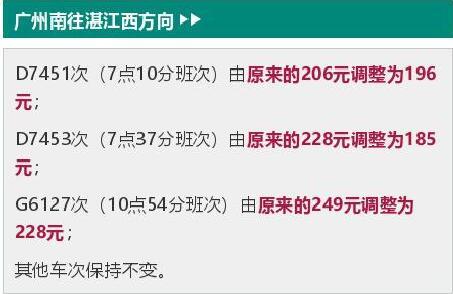 广州南站到湛江部分车次二等座降价 降10元-40元不等