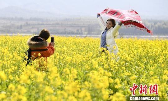 江西新余万亩油菜花次第绽放 游客采撷春光