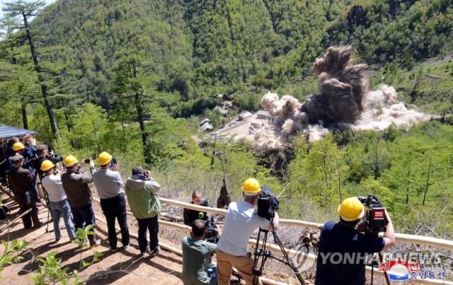 看!朝中社公布炸毁丰溪里核试验场画面