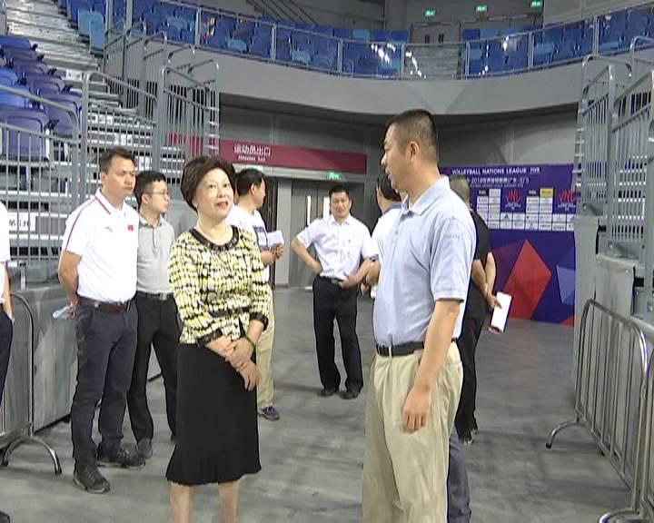 市领导检查世界排球联赛江门站筹备工作