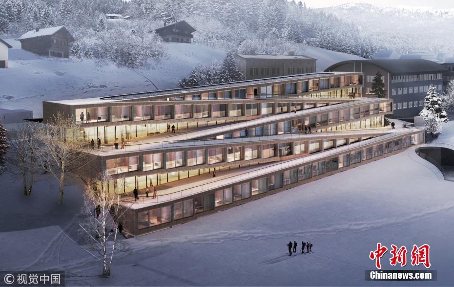 瑞士酒店屋顶可以滑雪