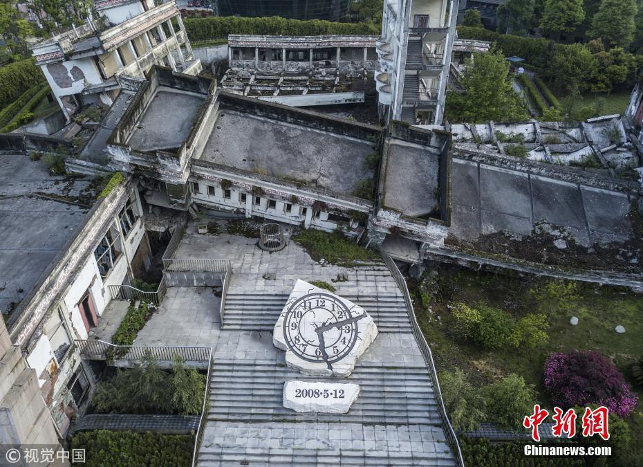 汶川地震十周年 航拍映秀遗址新貌