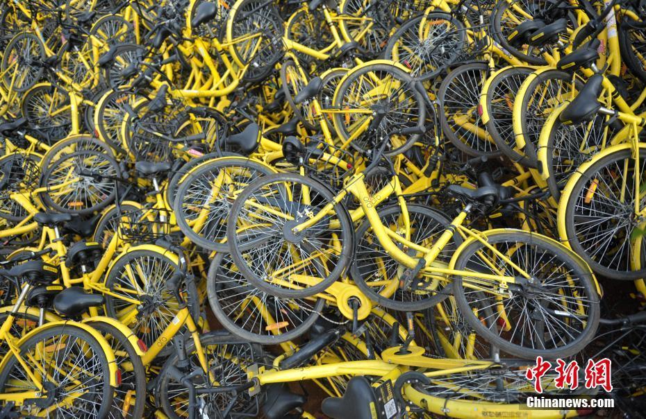 成都小黄车堆成小山