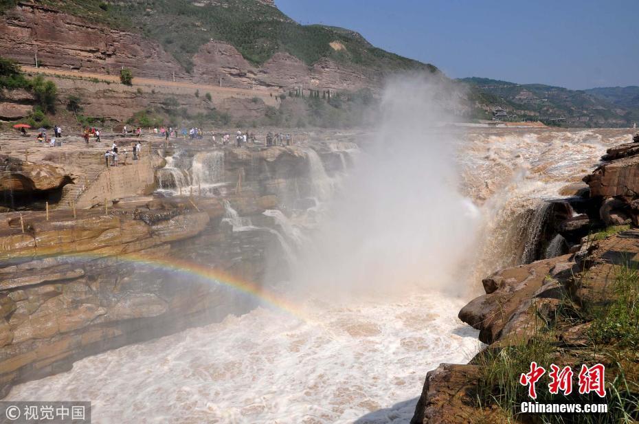 黄河壶口瀑布彩虹镶嵌 气势磅礴