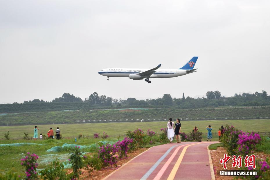 成都打造空港花田 民众扎堆近距离看飞机降落
