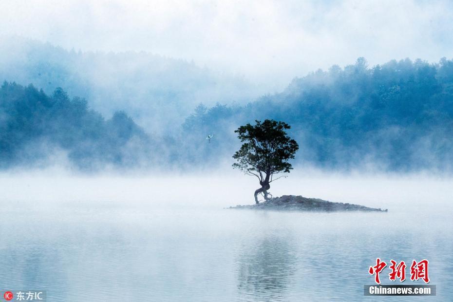 安徽黄山奇墅湖现秋日蒸腾景观 如临仙境