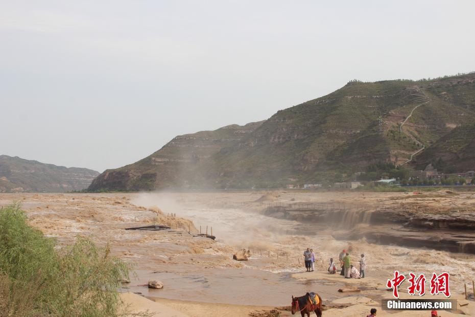 """黄河壶口瀑布现""""水岸齐平""""景色 瀑布群绵延数百米"""