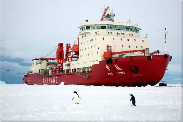 """""""雪龙""""船南极碰撞冰山"""