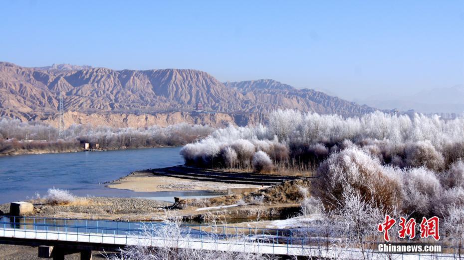 黄河岸边现雾凇奇观