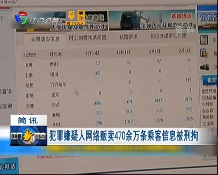 犯罪嫌疑人网络贩卖470余万条乘客信息被刑拘