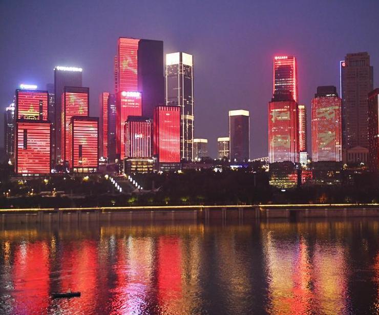 重慶主題燈光秀迎國慶