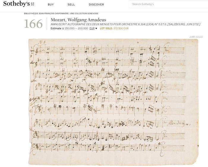 莫扎特手稿拍出高價