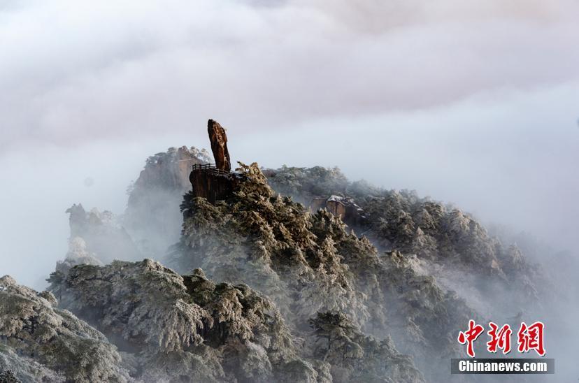 安徽黃山風景區迎今冬首場降雪