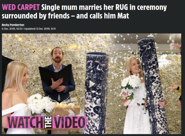 """她身著婚紗舉行盛大婚禮 """"新郎""""卻是一張地毯?(圖)"""