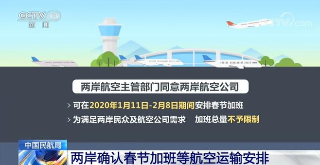 两岸确认春节加班等航空运输安排