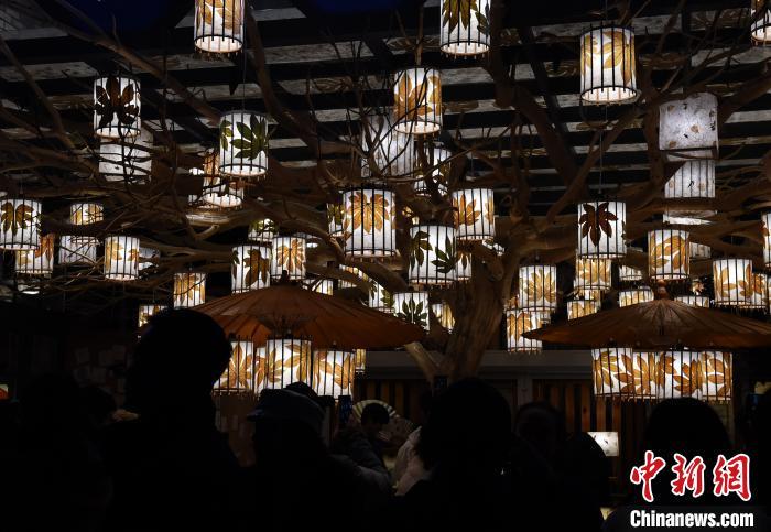 新年将至 重庆公园花灯璀璨年味渐浓