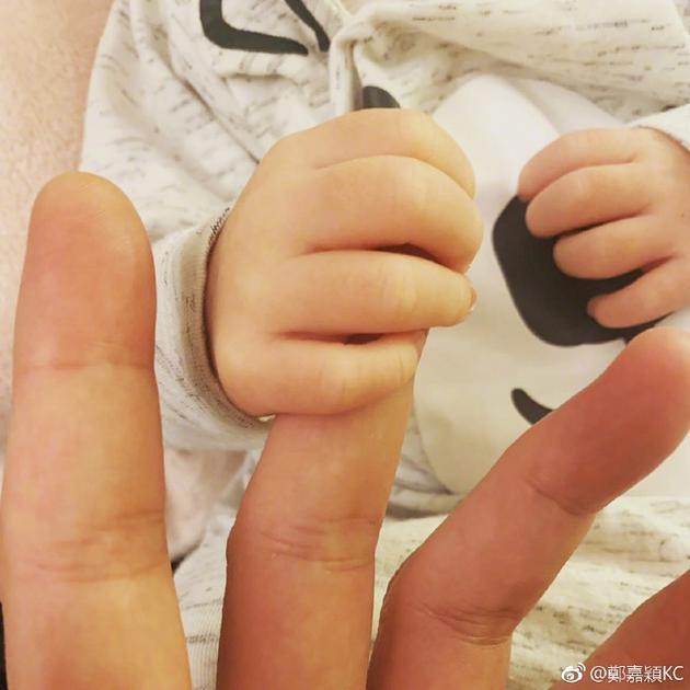 郑嘉颖与儿子温馨牵手
