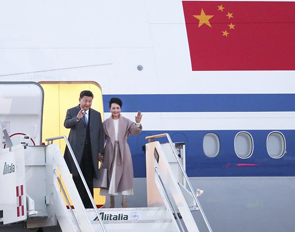 习近平抵达罗马对意大利进行国事访问