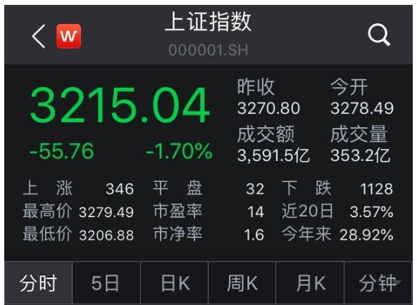 沪指高开低走重挫1.7%:权重股砸盘