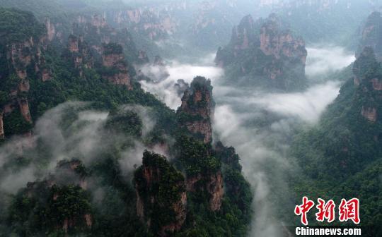 张家界再现雾绕峰林