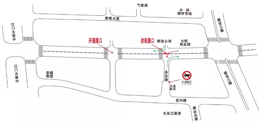 蓬江区篁庄大道路口临时禁行封闭
