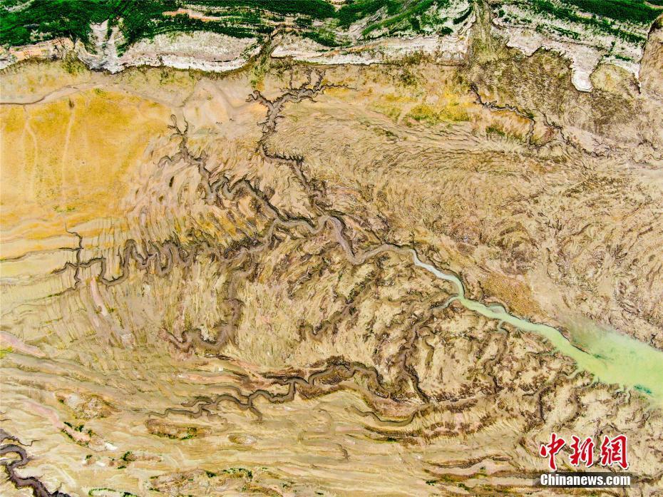 黃河河床變身浮雕版畫