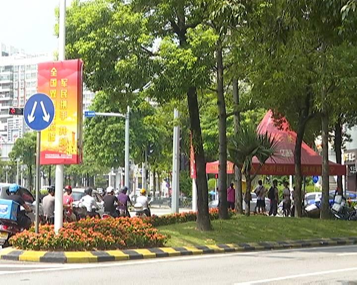蓬江32万盆鲜花装扮街景迎国庆