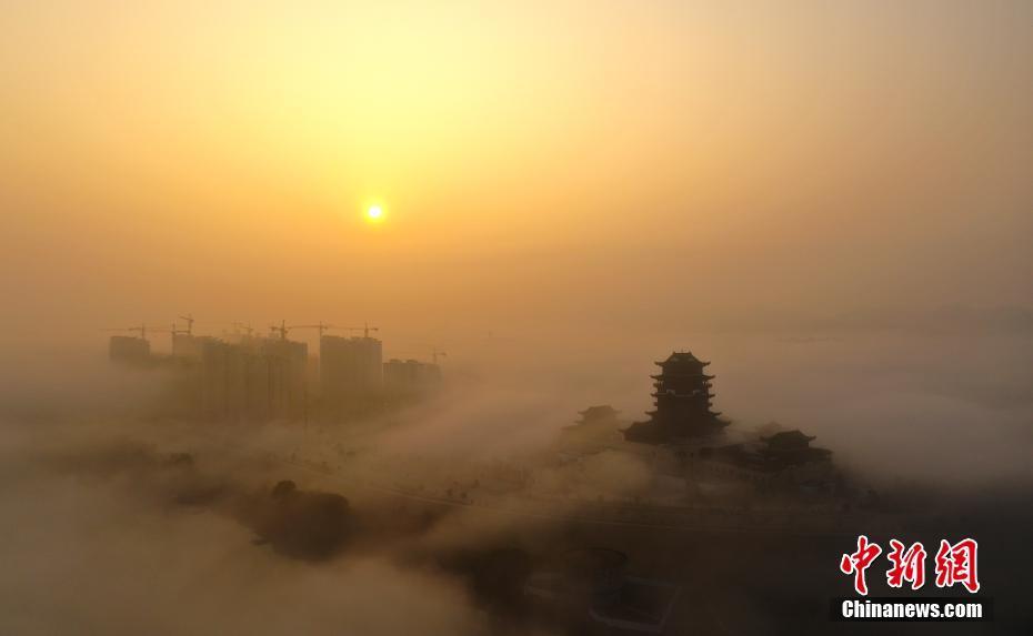 航拍江西鉛山云霧圍城