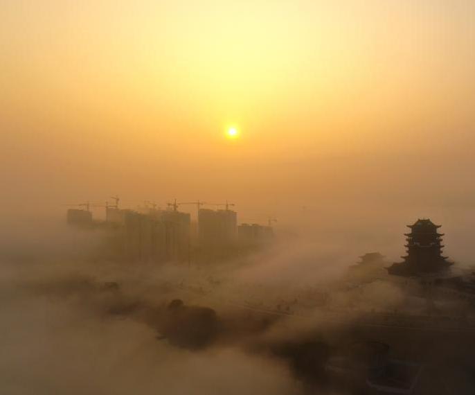 航拍江西铅山云雾围城