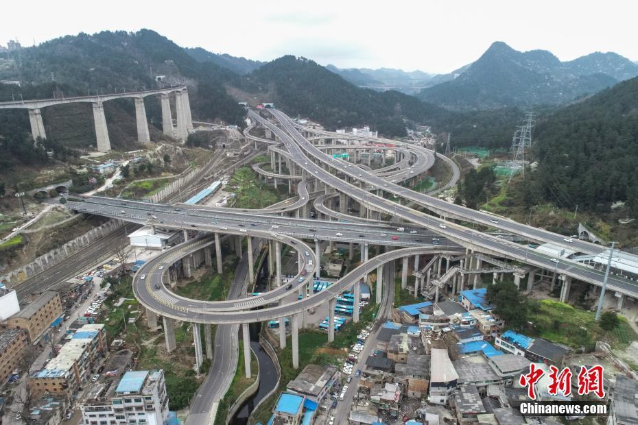 航拍贵阳黔春立交桥