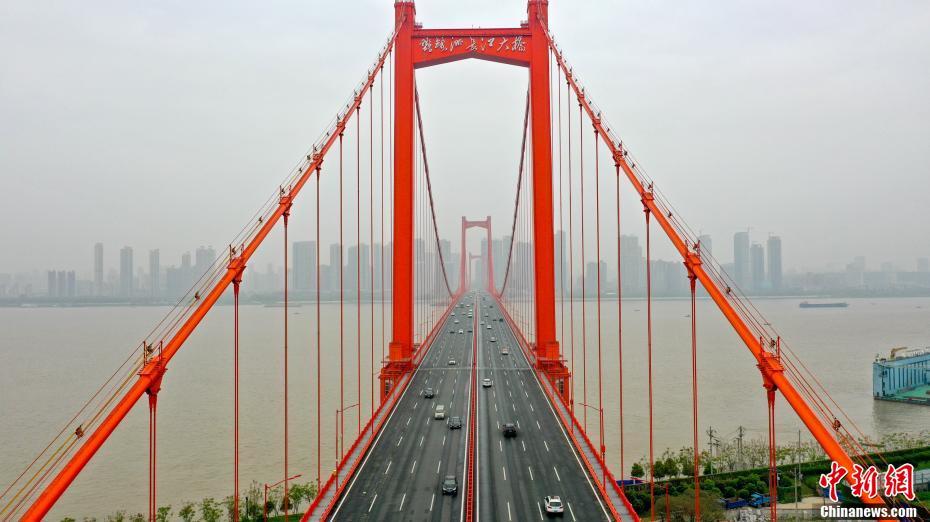 航拍武漢跨江大橋