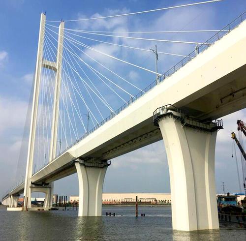 潭江特大桥主桥左幅顺利合龙