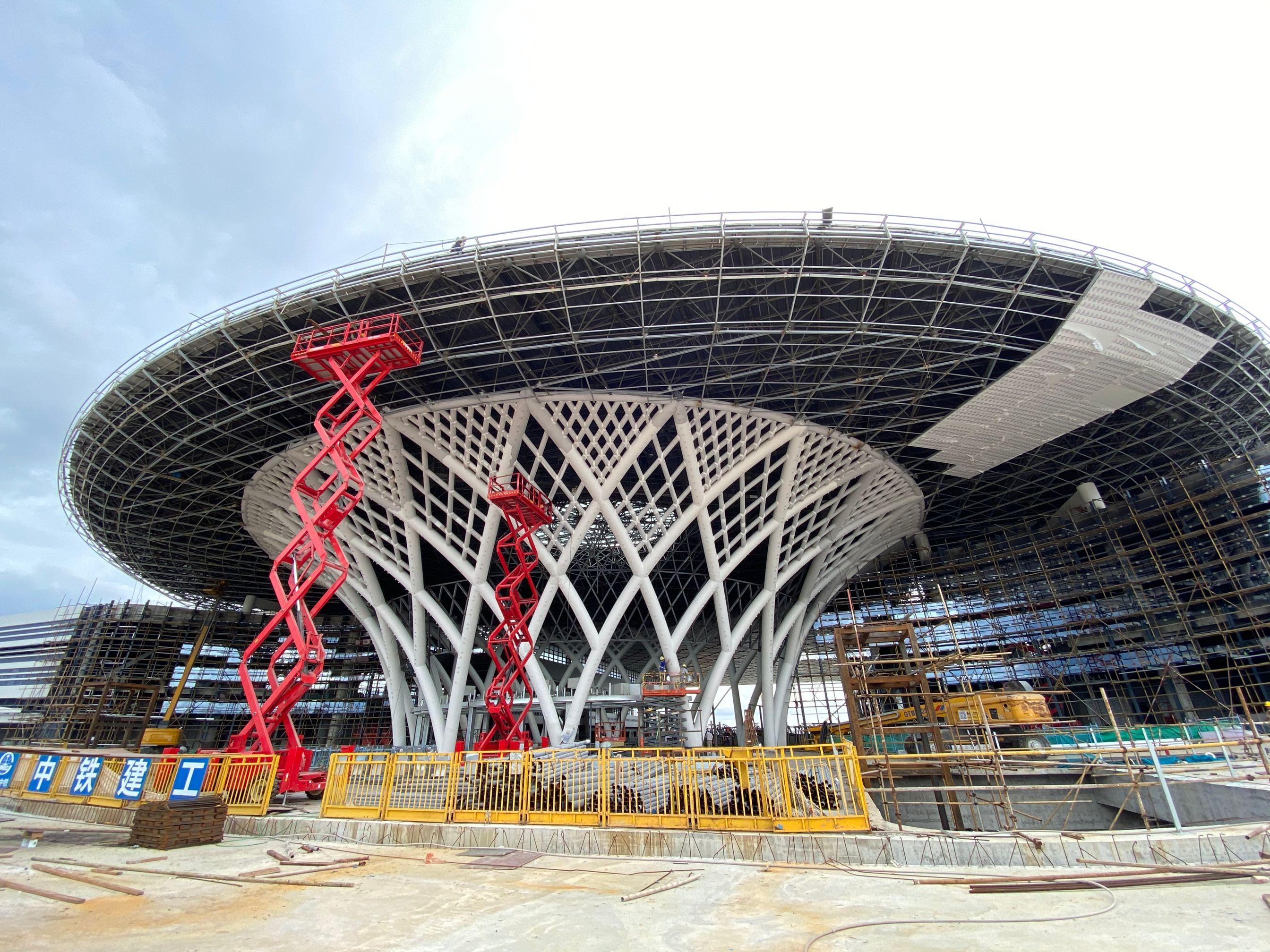 江门站东段站房主体结构土建部分完工 预计9月份侧式站房可完工